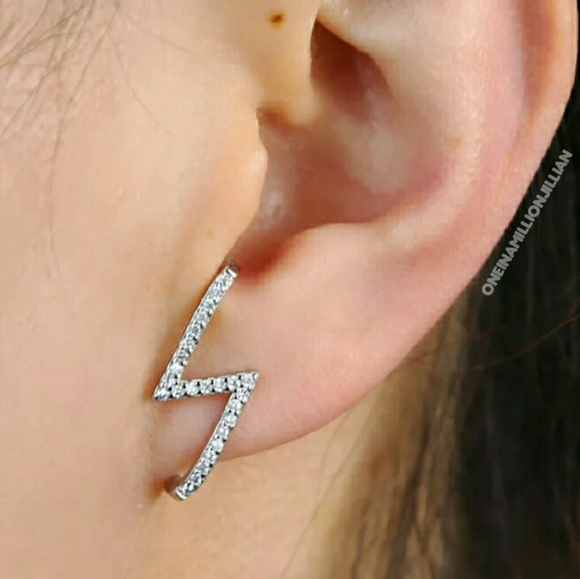 Jewelry - Pave Lightning Huggie/Suspender Illusion Earrings